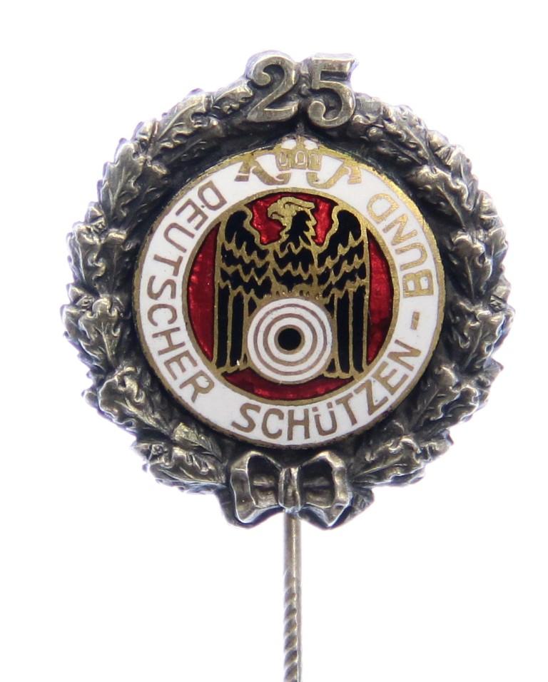 o.J. Deutschland Silbernadel für 25 Jahre Mitgliedschaft im Schützenwesen o.J. vz