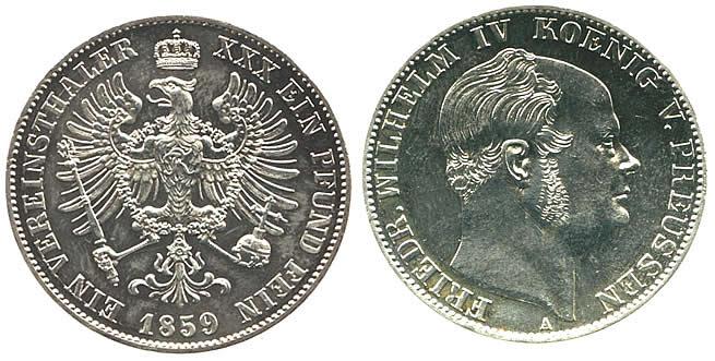 Vereinstaler 1859 Brandenburg-Preußen Vereinstaler 1859 A vz-st, winz. Randfehler