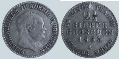 2 1/2 Silbergroschen 1853 Brandenburg-Preußen 2 1/2 Silbergroschen, 1853 A ss