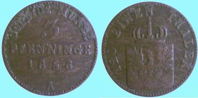 3 Pfennig 1856 Brandenburg-Preußen 3 Pfennig 1856 A s
