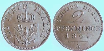 2 Pfennig 1869 Brandenburg-Preußen 2 Pfennige, Kupfer, 1869 A ss-vz