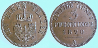 3 Pfennig 1872 Brandenburg-Preußen 3 Pfennig 1872 A ss-vz