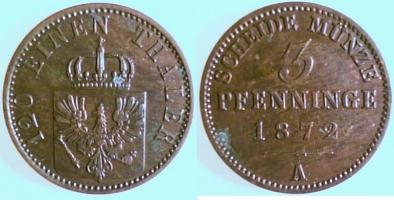 3 Pfennig 1872 Brandenburg-Preußen 3 Pfennig 1872 A vz-st