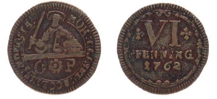 6 Pfennig 1762 Münster Domkapitel s-ss