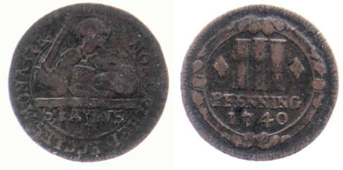 3 Pfennig 1740 Münster, Domkapitel 3 Pfennig 1740 fast ss