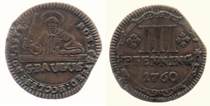 3 Pfennig 1760 Münster, Domkapitel 3 Pfennig 1760 ss