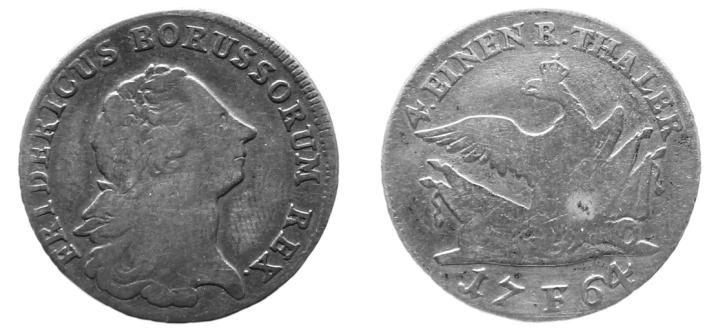 1/4 Taler 1764 F Preußen ss