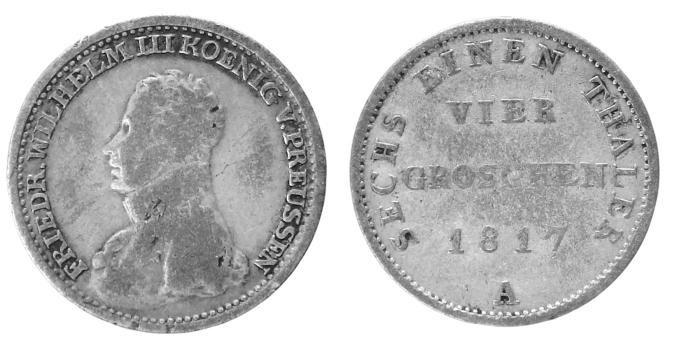 4 Groschen = 1/6 Taler 1817 A Preußen ss