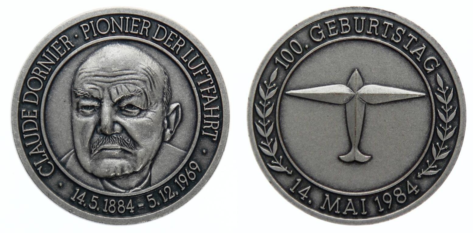 Gedenkmedaille 1984 Bundesrepublik Deutschland Medaille 1984 Dornier prägefrisch