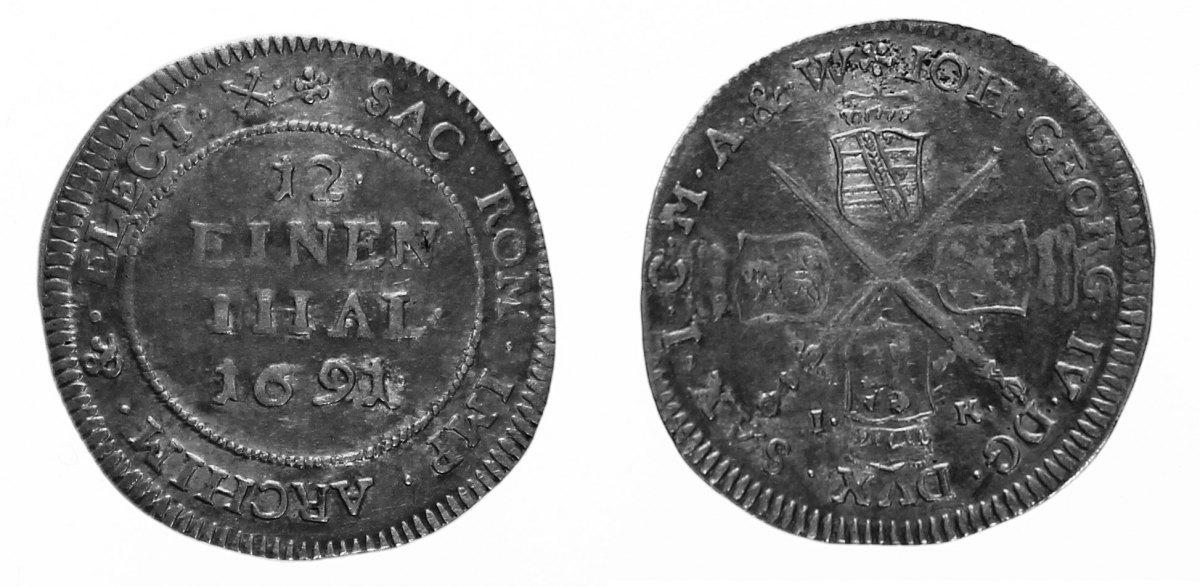 1/12 Taler 1691 Sachsen, albert. Linie Johann Georg IV., 1/12 Taler 1691 IK, Dresden. Selten! ss