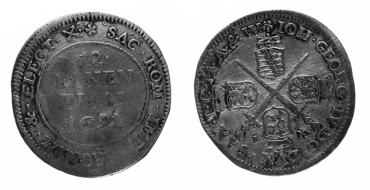 1/12 Taler 1691 Sachsen, albert. Linie Johann Georg IV., 1/12 Taler 1691 IK, Dresden. Selten! ss / s-ss