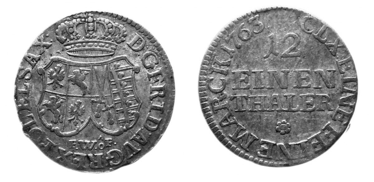 1/12 Taler 1763 Sachsen,albert. Linie Friedrich August II. (III.), 1/12 Taler 1763 FWoF, Dresden. f.ss