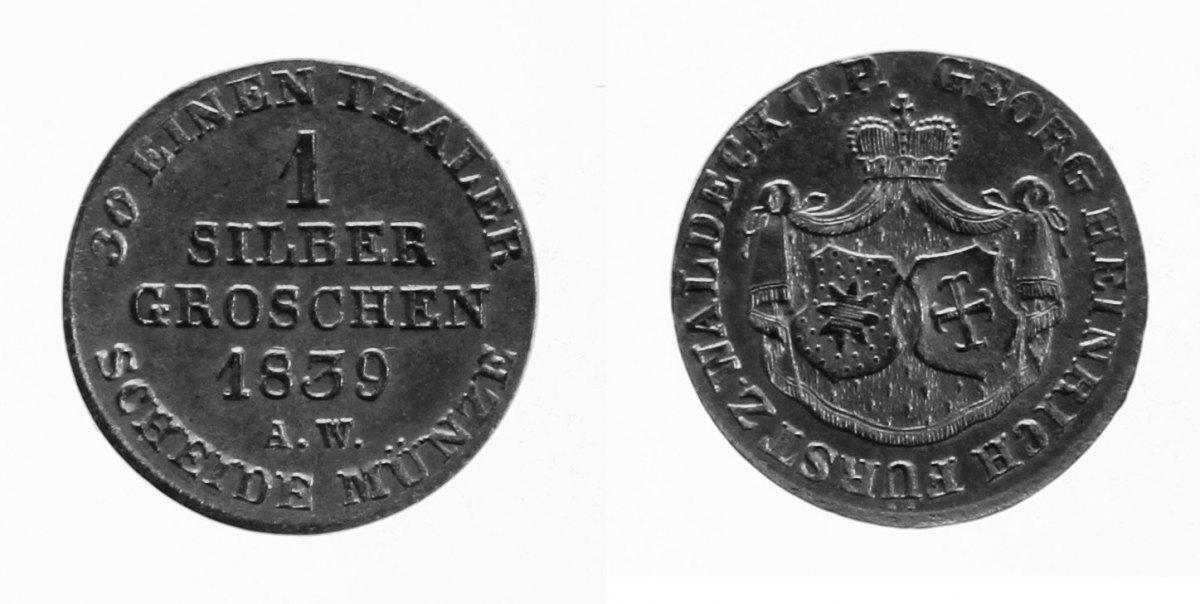 1 Silbergroschen 1839 Waldeck fast St.