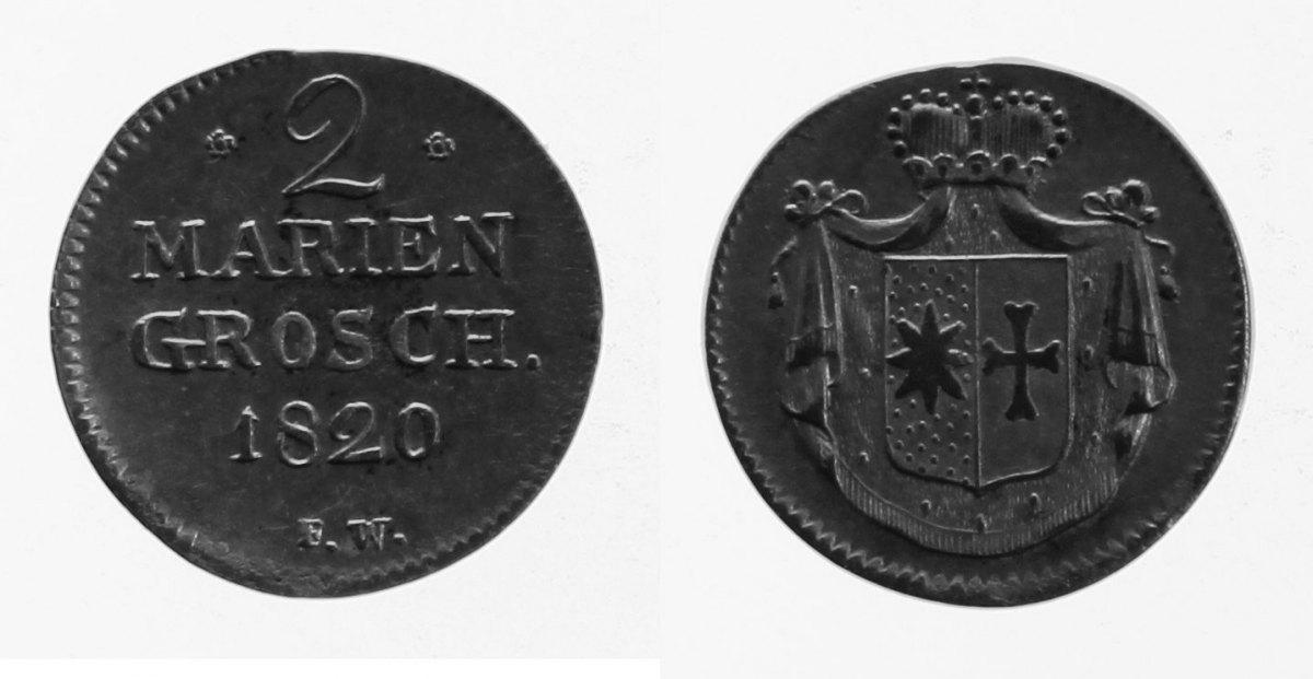 2 Mariengroschen 1820 Waldeck ss-vz