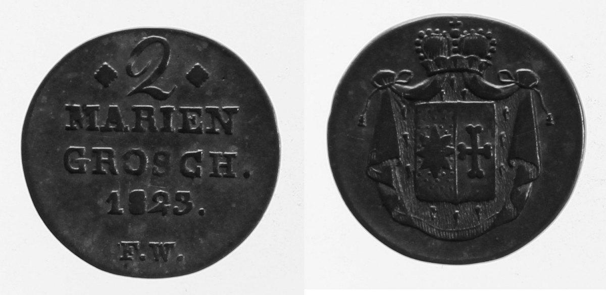 2 Mariengroschen 1823 Waldeck ss
