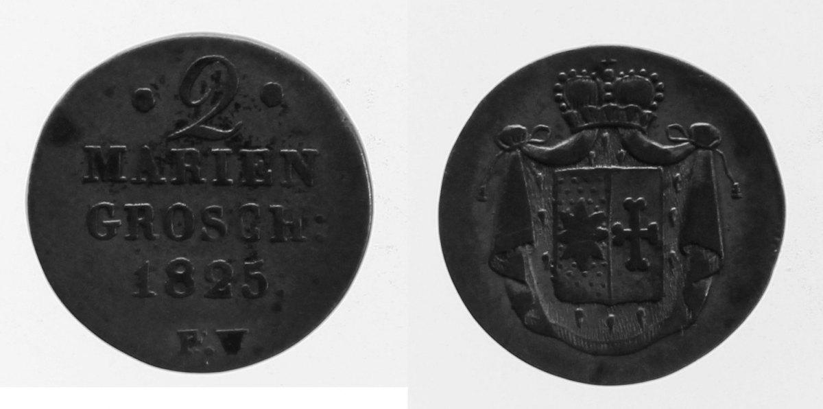 2 Mariengroschen 1825 Waldeck fast ss