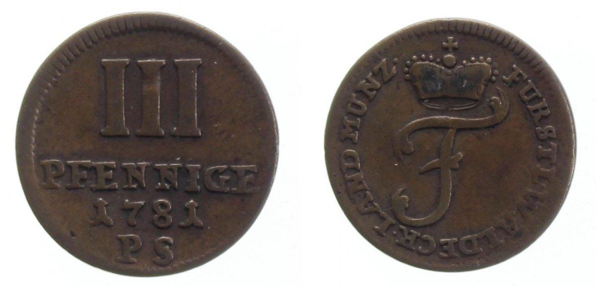 3 Pfennig 1781 Waldeck ss