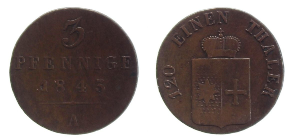 3 Pfennig 1845 A Waldeck s-ss