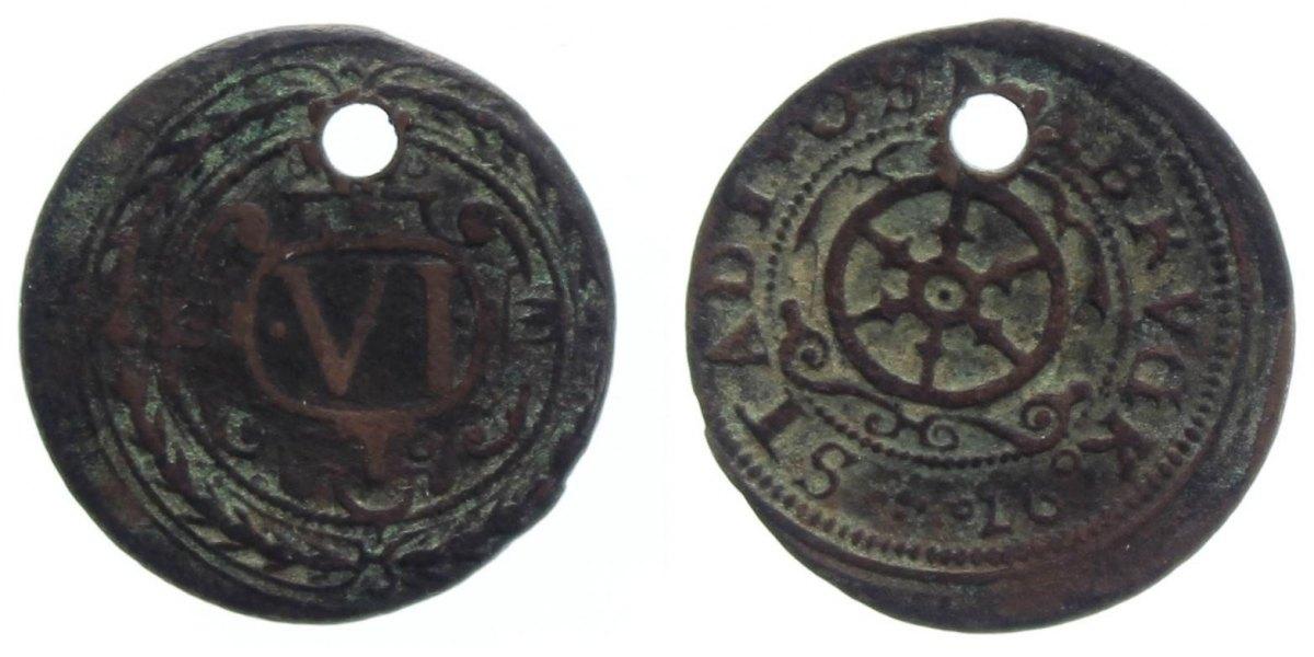 6 Pfennig 1597 Osnabrück, Std. s, gelocht, sehr selten