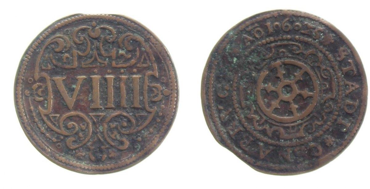 9 Pfennig 1625 Osnabrück, Std. ss, leicht gewellt, min. Zainende