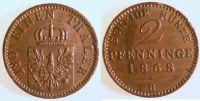 Brandenburg-Preußen 2 Pfennig 2 Pfennige, Kupfer, 1868 B