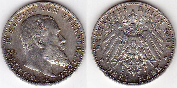 3 Mark 1909 Kaiserreich Württemberg Deutsches Kaiserreich