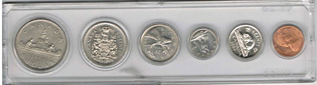 191 Dollar 6 Münzen 1968 Kanada Kanada Kursmünzensatz 1968 1
