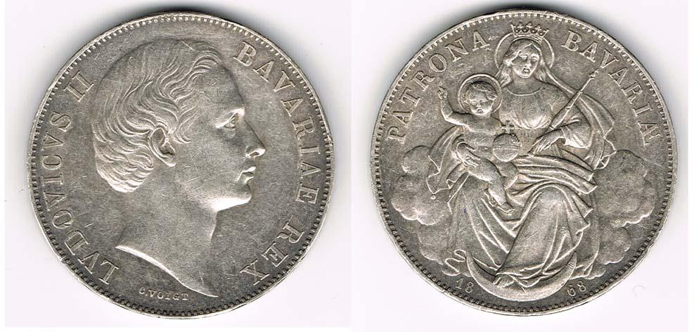 Taler Madonnentaler 1868 Bayern Silberkursmünze Vereinstaler