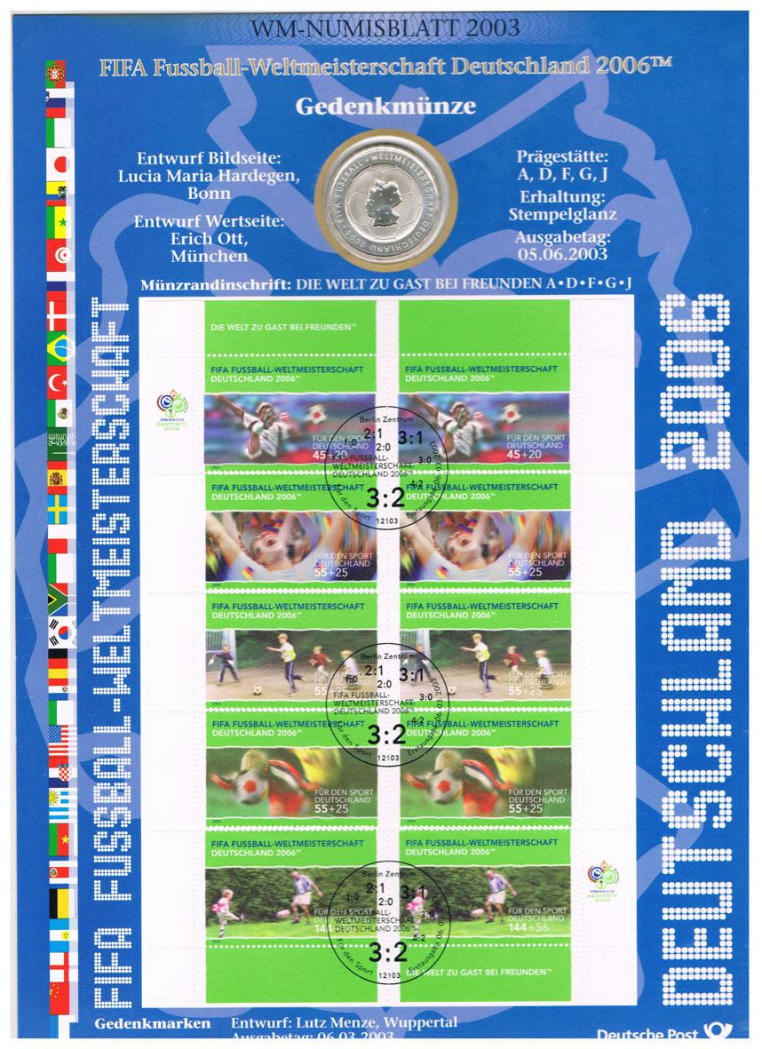 10 Euro 2003 Brd Deutschland Wm Numisblatt 2003 Mit 10 Münze Fifa