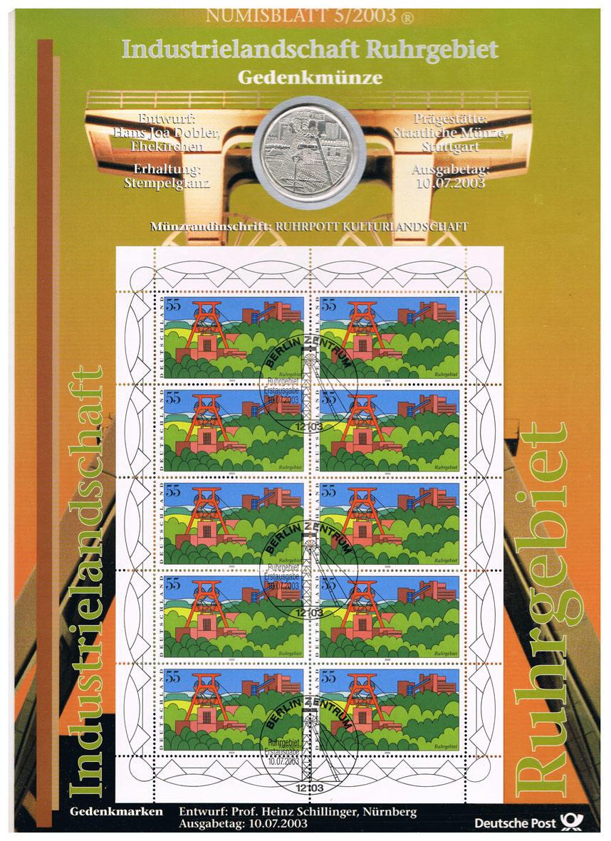 10 Euro 2003 Brd Deutschland Numisblatt 52003 Mit 10 Münze I