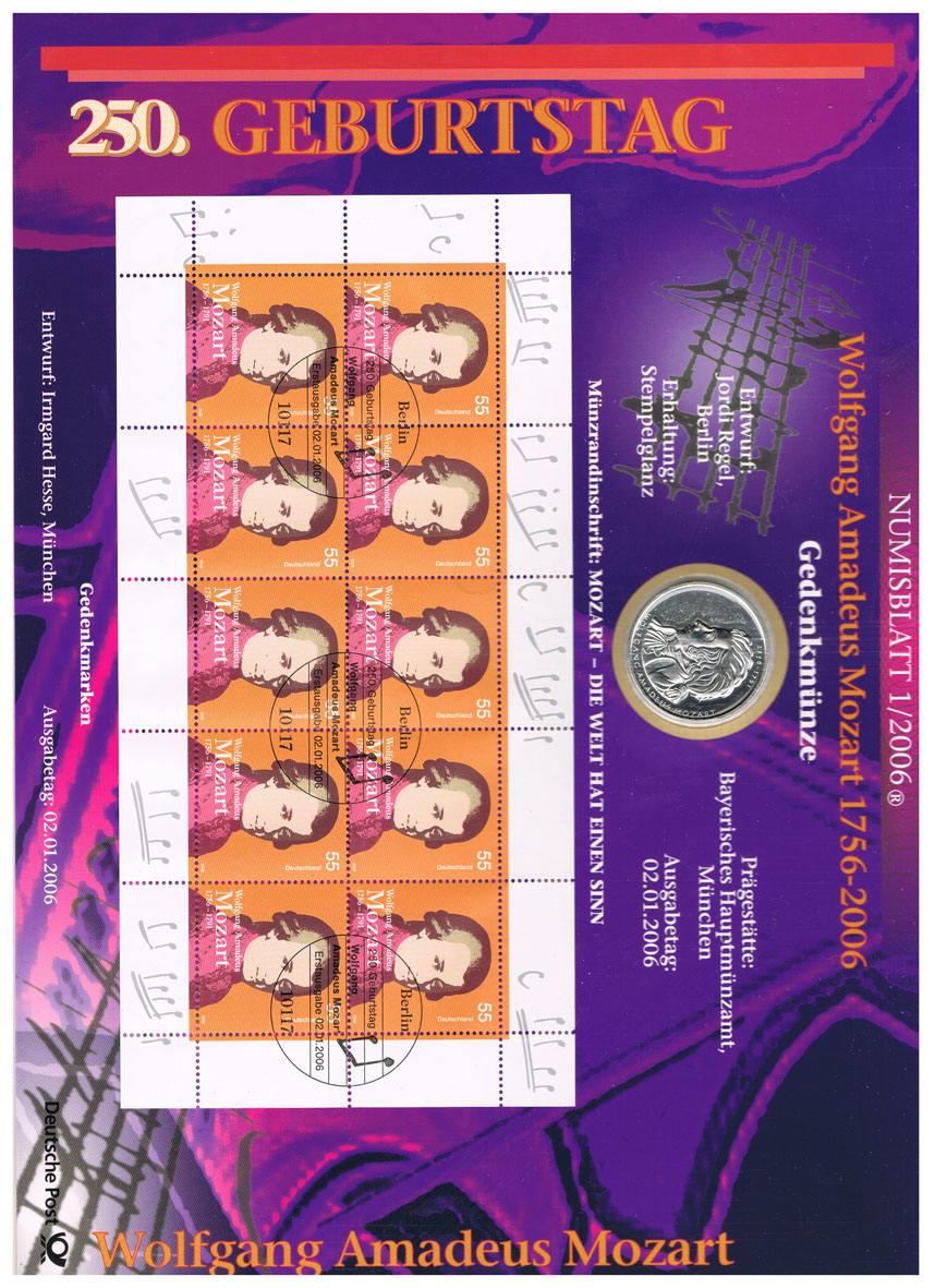 10 Euro 2006 Brd Deutschland Numisblatt 12006 Mit 10 Münze I