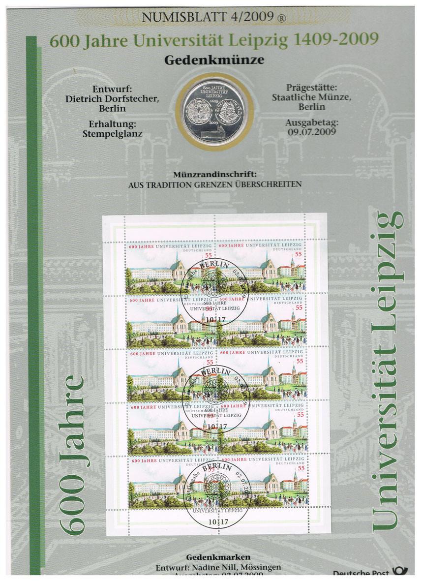 10 Euro 2009 Brd Deutschland Numisblatt 42009 Mit 10 Münze I