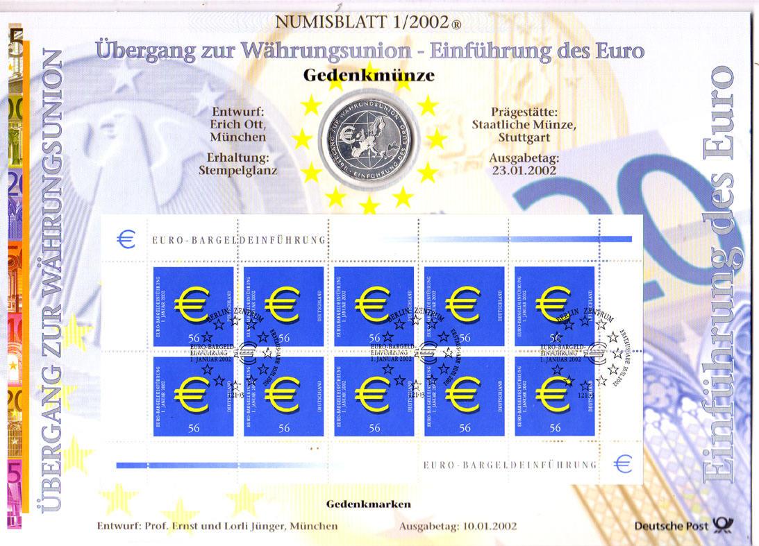 10 Euro 2002 Brd Deutschland Numisblatt 12002 Mit 10 Münze