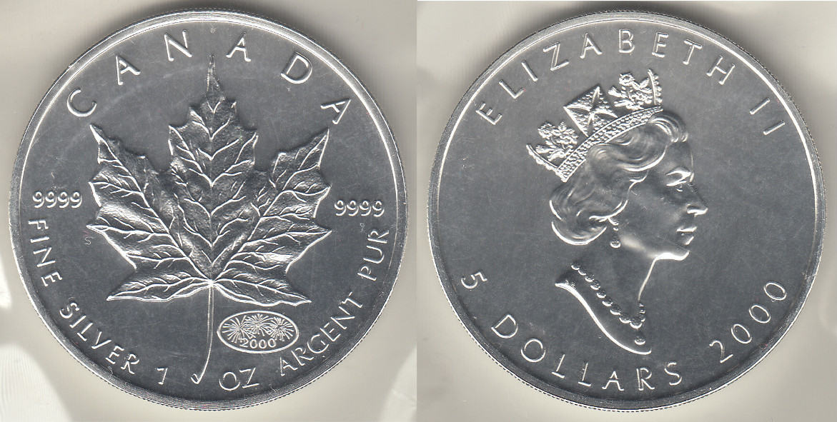 5 Dollars 2000 Kanada Kanada 2000 Unze Silber Quotmaple Leaf
