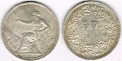 5 Franken 1874 Schweiz Schweiz 1874 B ., 5 Franken Kursmünze, sitzende Helvetia, siehe Scan! fast vorzüglich / sehr schön bis vorzügl