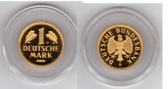 1 dm 2001 f brd deutschland 1 mark gold goldmark 2001. Black Bedroom Furniture Sets. Home Design Ideas