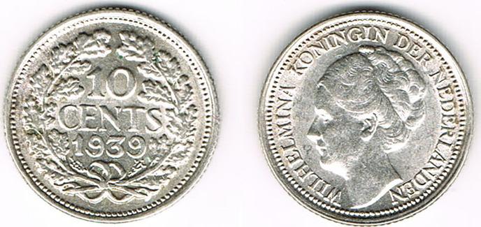 10 Cent 1939 Niederlande Niederlade 1939 10 Cent Wilhelmina