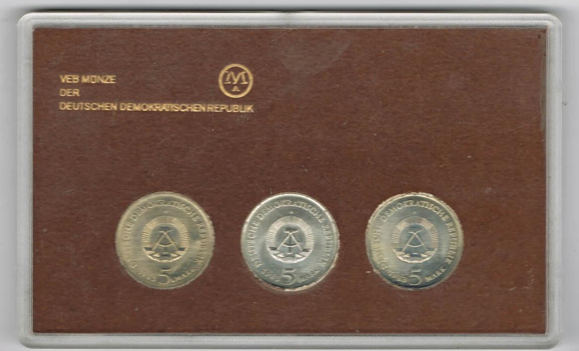 3 X 5 Mark 1983 Ddr Satzetui Martin Luther Ehrung 1983 3 Münzen