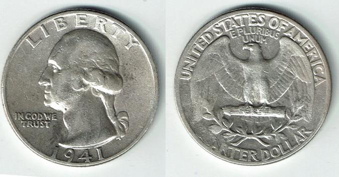 Quarter Dollar 1941 Usa Quarter Dollar Kursmünze 1941 George Washington Siehe Scan Sehr Schön