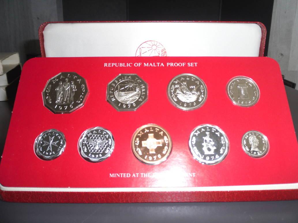 1 Cent 5 Mils 9 Münzen 1976 Malta Malta Offizieller