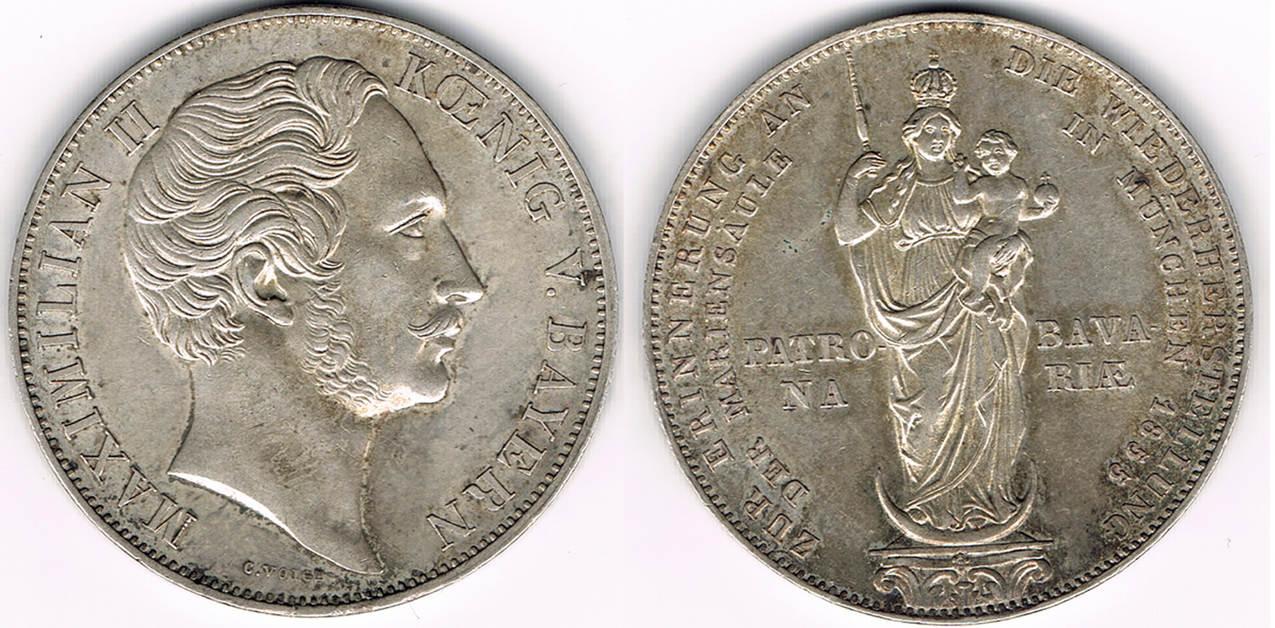 2 Gulden 1855 Bayern Gedenkmünze Mariengulden 1855 König Maximilian