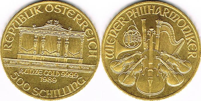 500 Schilling 1989 österreich österreich 500 Schilling 14 Unze Wiener Philharmoniker Gold Anlagegold Stempelglanz