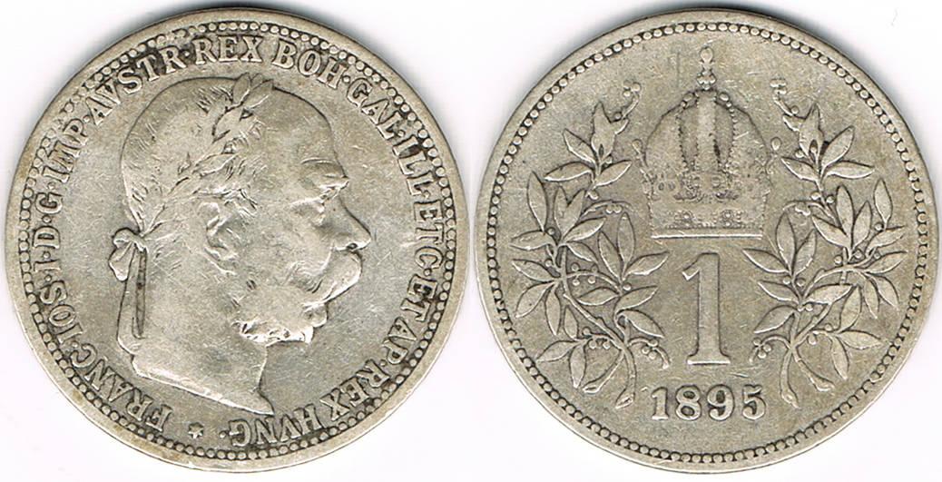 1 Krone 1895 österreich Kursmünze 1 Krone 1895 Ifranz Josef Ii