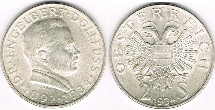 2 Schilling 1934 österreich österreich 1934 2 Schilling Engelbert Dollfuß Erhaltung Siehe Scan Vorzüglich