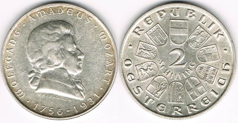 2 Schilling 1931 österreich österreich 2 Schilling 1931 Gedenkmünze Wolfgang Amadeus Mozart Ttb Sup