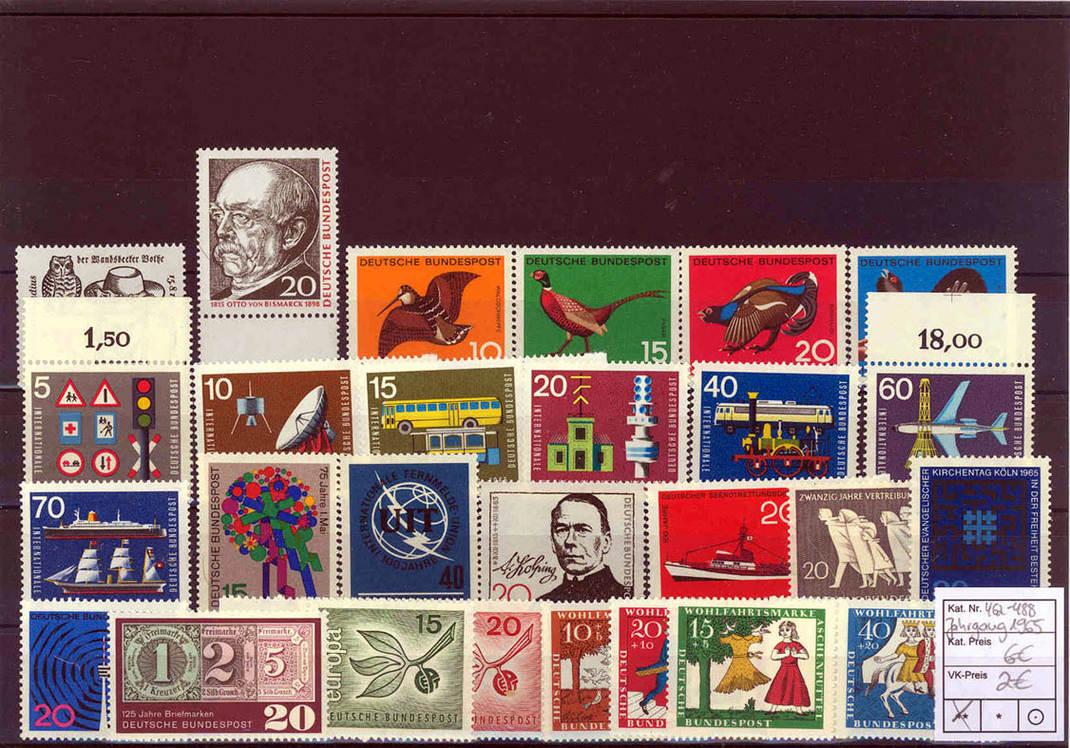 Jahrgang 1965 Komplett 1965 Brd Briefmarken Brd Jahrgang 1965