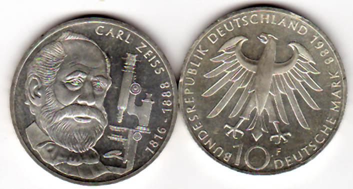 10 Dm 1988 Brd 10 Dm Gedenkmünze Carl Zeiss 1988 F Silber