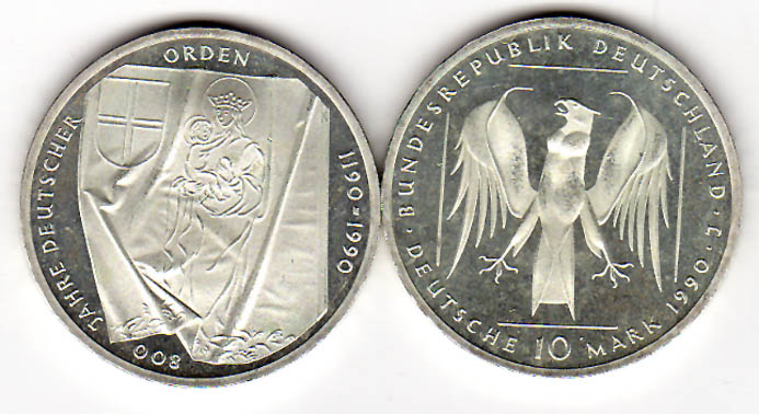 10 Dm 1990 Brd 10 Dm Gedenkmünze 800 Jahre Deutscher Orden 1990 J