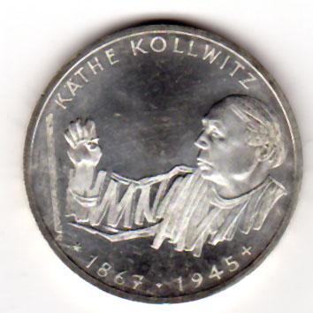 10 Dm 1992 Brd 10 Dm Gedenkmünze Ikäthe Kollwitzi 1992 G