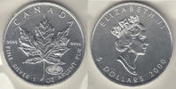 "Kanada 5 Dollars Kanada 2000, Unze Silber, ""Maple Leaf - Privy Mark Millenium Feuerwerk&quot"